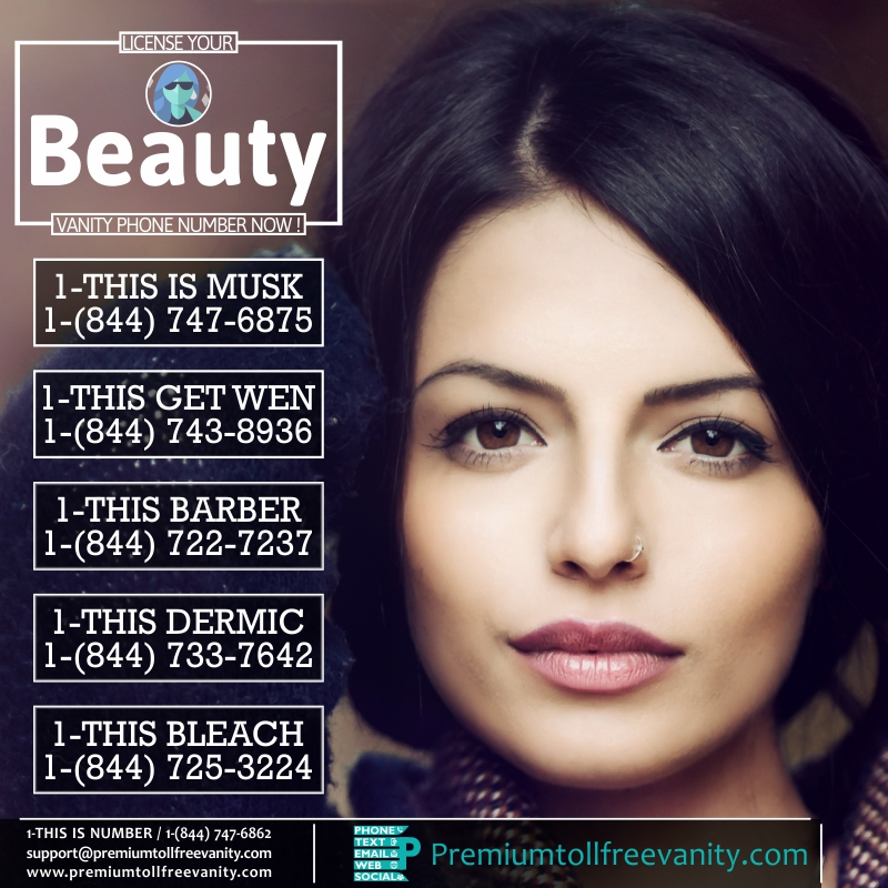 Buy License beauty cosmetics jewelary gems toll free vanity phone numbers